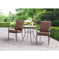 Outside Patio Chairs Mainstays Crossman 3 Piece Outdoor Bistro Set Ii With Arms Seats
