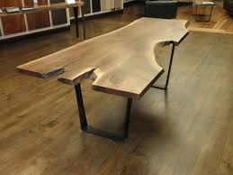 U Shaped Table Legs Live Edge Walnut Dining Table With