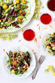 Salad With Edible Flowers - fresh herb and edible flower salad with hibiscus champagne