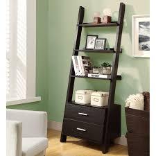 decorating brown ladder bookshelf with drawer on wooden floor