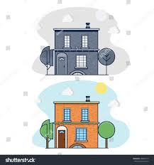 facade apartment house lawn trees twostory stock vector 408642112