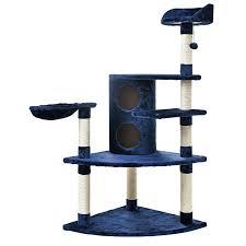 luxury blue cat tree cat climbing tower u0026 lounge hammock two