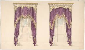 White And Purple Curtains Anonymous British 19th Century Design For Purple Curtains With