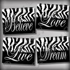 Zebra Print Bedroom Accessories Girls Zebra Print Wall Art Decor Girls Room Teen Dorm Dream Live