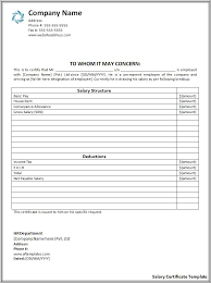 salary receipt template salary certificate format free printable word templates