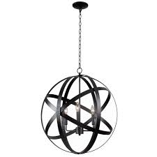 Kenroy Home Global 3 Light Black Pendant 93553blk The Home Depot
