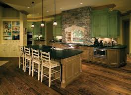 rustic cabin kitchen design tile floor black cushion vintage brown
