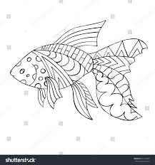 goldfish zentangle fish coloring page stock vector 674116249