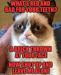 Bad Teeth Meme - what s red and bad for your teeth a brick thrown at your face now