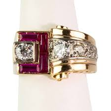 14k gold large diamond amethyst chunky retro rose 14k gold ring large diamonds ruby baguettes from