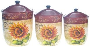 sunflower canister sets kitchen certified international tuscan sunflower canister set 3