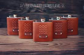 5 custom leather flasks handmade personalized gifts for your