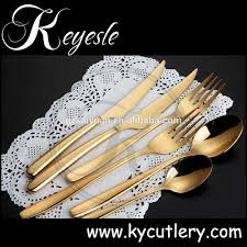 luxury gold plated stainless steel spoon and fork gold plated