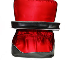 double zippered lancome makeup travel bag with red satin interior
