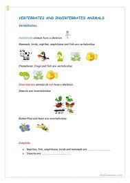 free printable worksheets vertebrates invertebrates vertebrates and invertebrates worksheet free esl printable