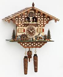 chalet style quartz cuckoo clock with lumberjack and dancers 43cm