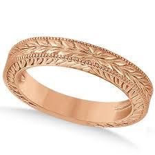 carved wedding bands vintage carved filigree leaf design wedding band 14k gold