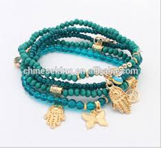 handmade bracelet charms images Diy stack beads bracelets with hamsa hand butterfly charms png