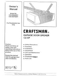 How To Adjust A Craftsman Garage Door Opener by Craftsman Garage Door Opener 139 53675srt User Guide