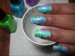 neon twist water marble diy nail art tutorial youtube