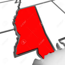 Outline Of United States Map by A Red Abstract State Map Of Mississippi A 3d Render Symbolizing