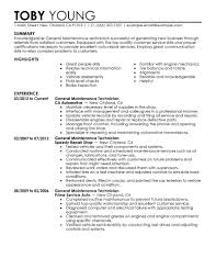 Maintenance Resume Objective Resume Resume For Maintenance Technician