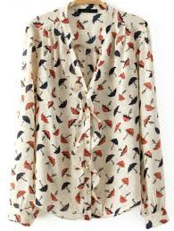 white long sleeve ruffle umbrella print blouse abaday com