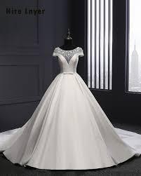 robe de mari e satin najowpjg nouveau arrivent à manches courtes satin mariée