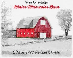 christmas cards printables winter watercolor barn knick