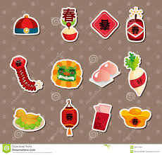 New Year Food Decorations by Chinese New Year Stickers Stock Photo Image 26517900