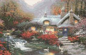 kinkade evening swanbrooke cottage 20 x16 paint by
