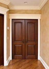 interior door custom double solid wood with walnut finish