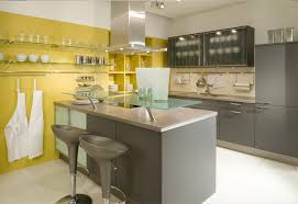 Kitchen Yellow Walls - grey kitchen with accent wall and glass shelves decor crave