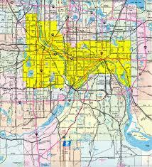 Map Of Minneapolis Interstate Guide Interstate 35e 35w Minnesota