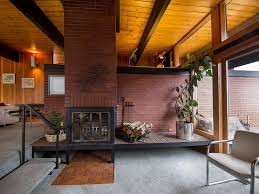 mid century modern home interiors mid century modern rustic home interior with fireplace brick wall