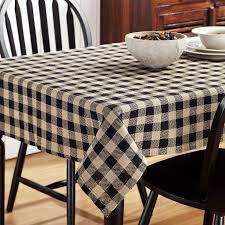 Dining Room Linens Burlap Black Check Table Cloth 60x102