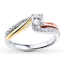 tricolor ring diamond engagement ring 3 4 ct tw cut 14k tri color gold