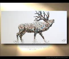 deer home decor elk painting on canvas deer original artwork home decor gift