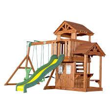 Backyard Discovery Winchester Playhouse Backyard Discovery Tanglewood All Cedar Swing Set U0026 Reviews Wayfair