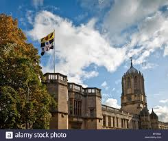 College Flag Christ Church Oxford With The College Flag Flying Stock Photo