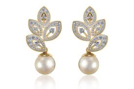 earrings pictures buy aarna pearl diamond earrings online in india at best price
