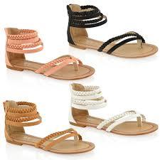 womens ladies fashion flat toe post zip summer gladiator sandals