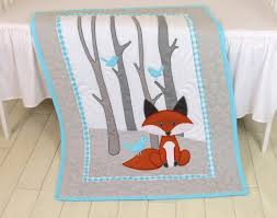 custom quilts by eva fox blanket forest baby quilt gray aqua