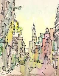 new york sketch chrysler building new york city print from