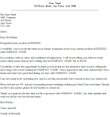 formal resignation letter exle with two weeks notice icover