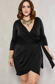 black plunging neckline long sleeve plus size party dress