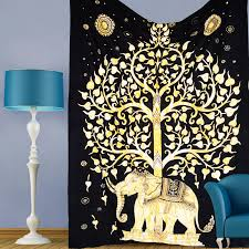 Hippie Home Decor Decorating Elegant Interior Home Decor With Gold Tapestry Wall