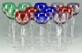 lot 879 12 colored crystal wine goblets