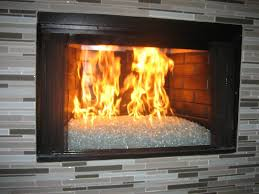 sophisticated material burning of fireplace glass rocks