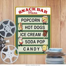 home theater nashua nh snack bar menu metal sign 16 x 24 home theater signs